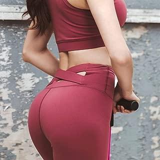 Jinqiuyuan High Waist Yoga Pants Women Cross Belt Push Up Stretch Gym Leggings Outdoor Jogging Sport Leggings Fitness Pants (Color : Red, Size : S)