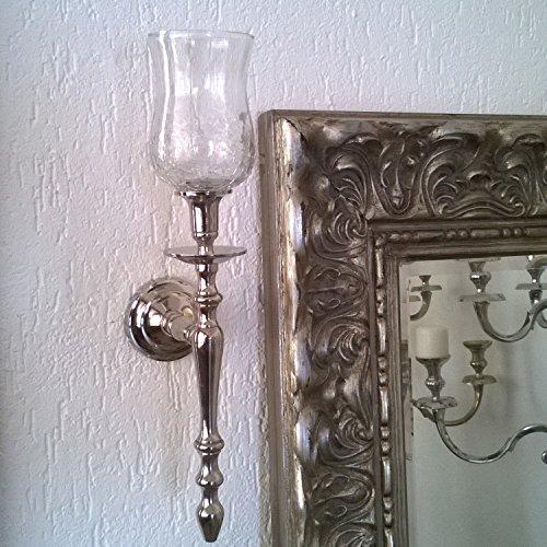 Dekowelten 1x Wand-Kerzenleuchter Aluminum vernickelt + Glasaufsatz ca. 45cm Wandleuchter Kerzenleuchter Kerzenständer Teelichtaufsatz Teelichthalter