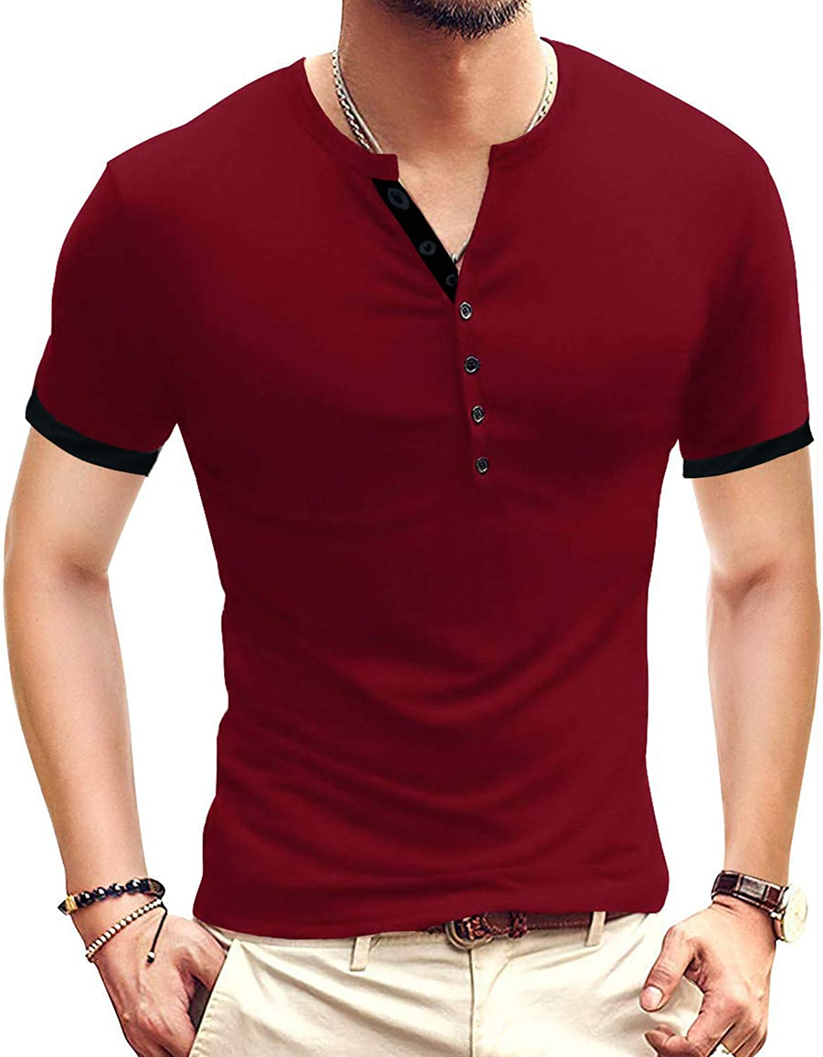 Ranberone Mens Slim Fit Short Sleeve All stores are sold Henley S Reservation Casual Shirt Basic