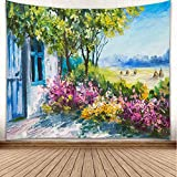 YISURE Floral Watercolor Painting Tapestry Wall Hanging, Colorful Flowers Garden Oil Painting Tapestry Home Decor Polyester Tapestry for Dorm Bedroom Livingroom, 80x60 inch
