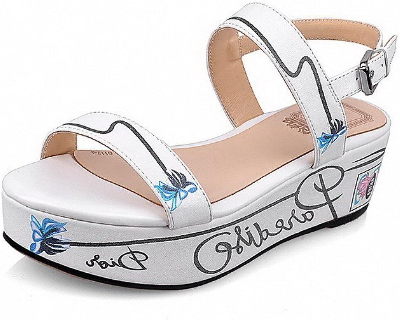 AllhqFashion Women's Kitten-Heels Soft Material Assorted color Buckle Sandals