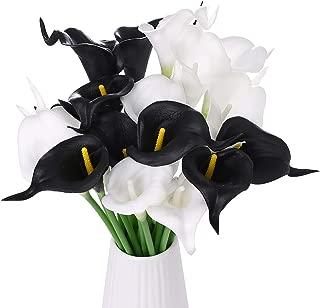 HOSONG 20pcs Black and White Artificial Calla Lily for DIY Wedding Bouquets Centerpieces Arrangements Party Home Decorations Artificial Flowers