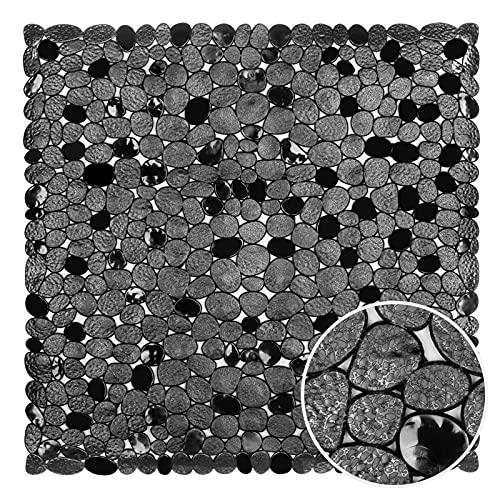 WELTRXE Duschmatte, Antirutschmatte aus Kunststoff für Kinder und Familie Dusche, rutschfeste Badewannenmatte mit Hunderte Saugnäpfen, Quadratisch Duscheinlage PVC 54 x 54 cm schwarz