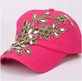 Cowbow Cotton Baseball Cap Shiny Fashion Women's Diamond Flower Lady Rhinestone Cowboy Hat