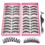 Teenitor 20 Pair 2 Desgin Crisscross False Eyelashes Lashes With A False Eyelashes Extension Applicator Tool, Handmade Cruelty Natural Looking
