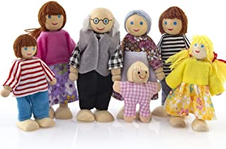 E-SCENERY 7Pcs Poseable Wooden Doll Family Pretend Play Mini People Figures for Dollhouse, Toys for Kids Girl Boy Toddlers