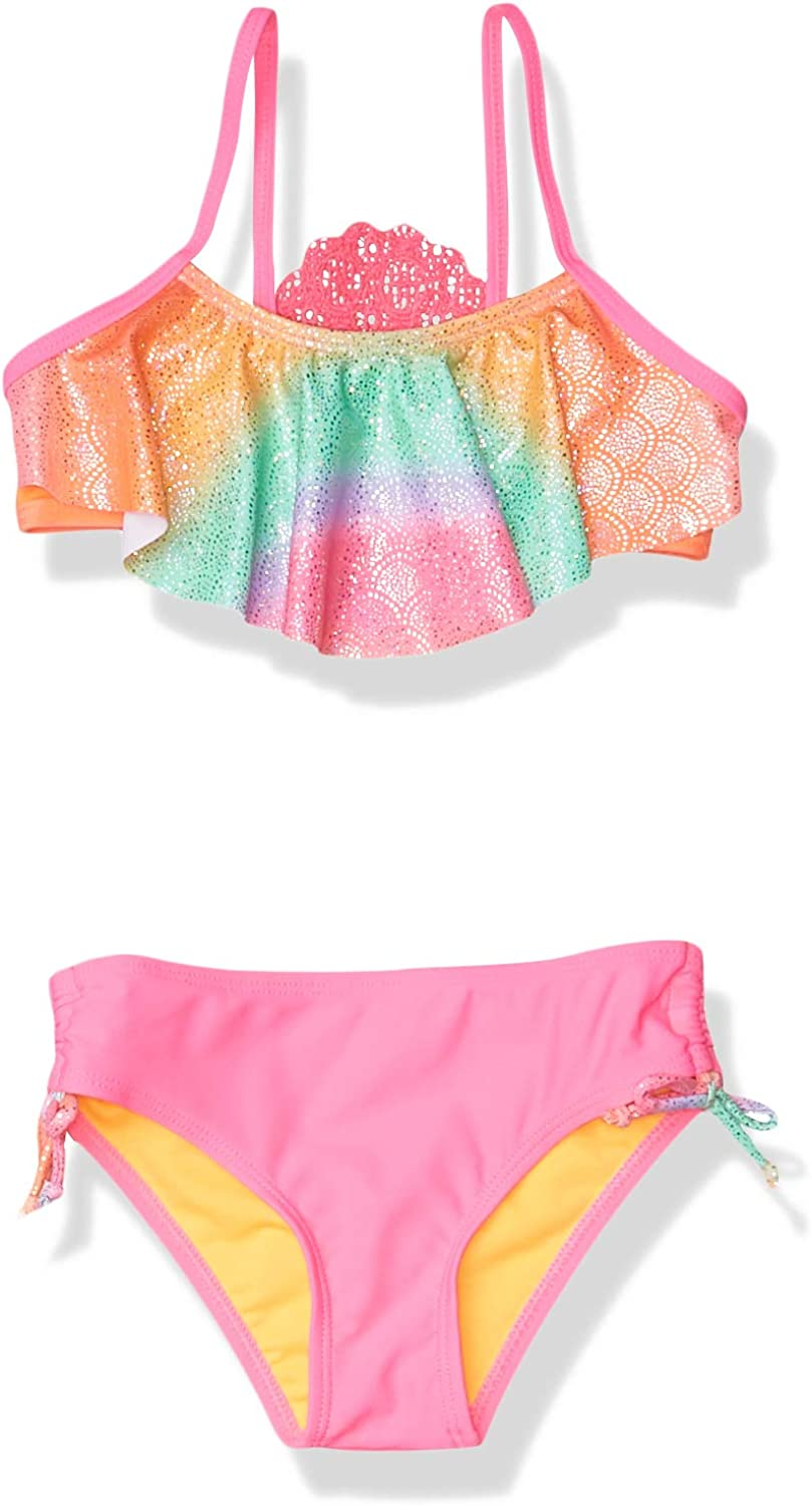 Limited Too Girls' Little Printed Two Piece Swimsuit with Ruffle Trim