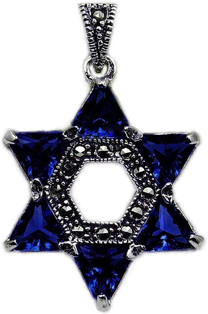 Jewish Star Max 44% OFF of David Sterling Silver Dark Directly managed store Blue Cubic Navy Zircon