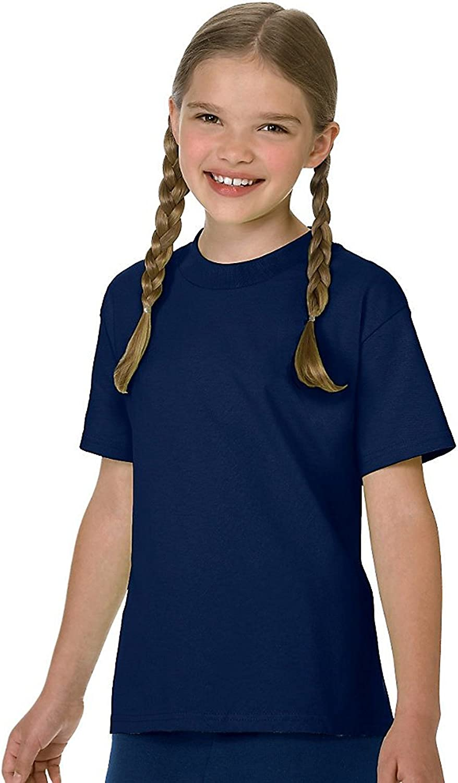 Hanes Authentic TAGLESS Boys' Cotton T-Shirt_Navy_M