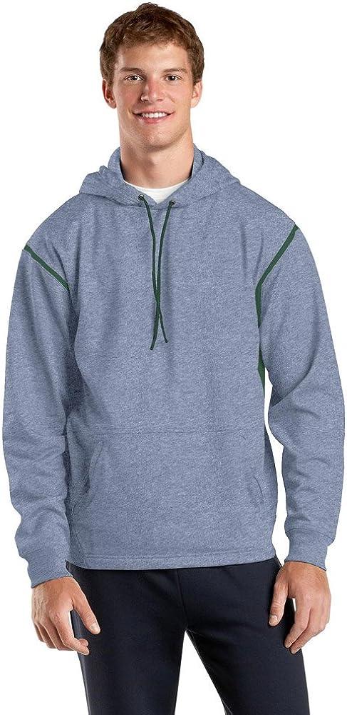 Sport Tek Tall Tech Fleece Hooded Sweatshirt-3XLT (Grey Heather/Forest Green)