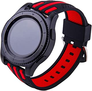 Rubber Watch Band for Galaxy Gear S3 Classic/Gear 4/ Frontier/Bracelet Belt Silicone Sport Strap CHAMPLED Galaxy Watch 46mm/ Gear 2 R380/ Neo R381/ Live R382 and More (RED Black Mix, 22mm)