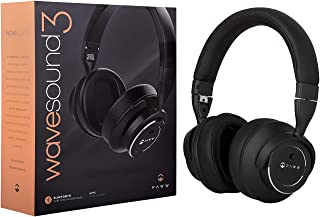 Paww WaveSound 3 Bluetooth 5.0 Wireless Active Noise Cancelling Over Ear Headphones w/Mic, Hi-Fi, Deep Bass, aptX Low Latency, ShareMe, Siri, Google Connect for Travel Work TV Computer Phone