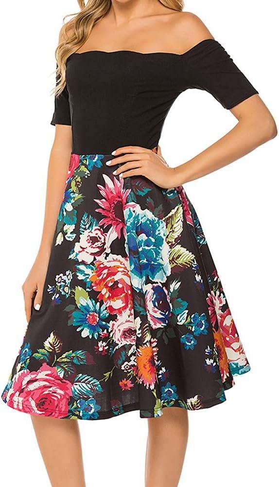 HLMSKD Flower Print Stitching Dress Fashion Elegant Slim Fresh Sweet Dress Fashion Casual Vacation Skirt Woman Streetwear (Color : Black, Size : Lcode)