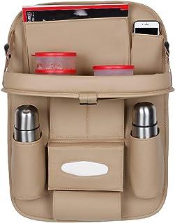 Autofurnish 3D Car Auto Seat Back Multi Pocket Storage Bag Organizer with Car Meal Tray-(Beige)-Set of 1