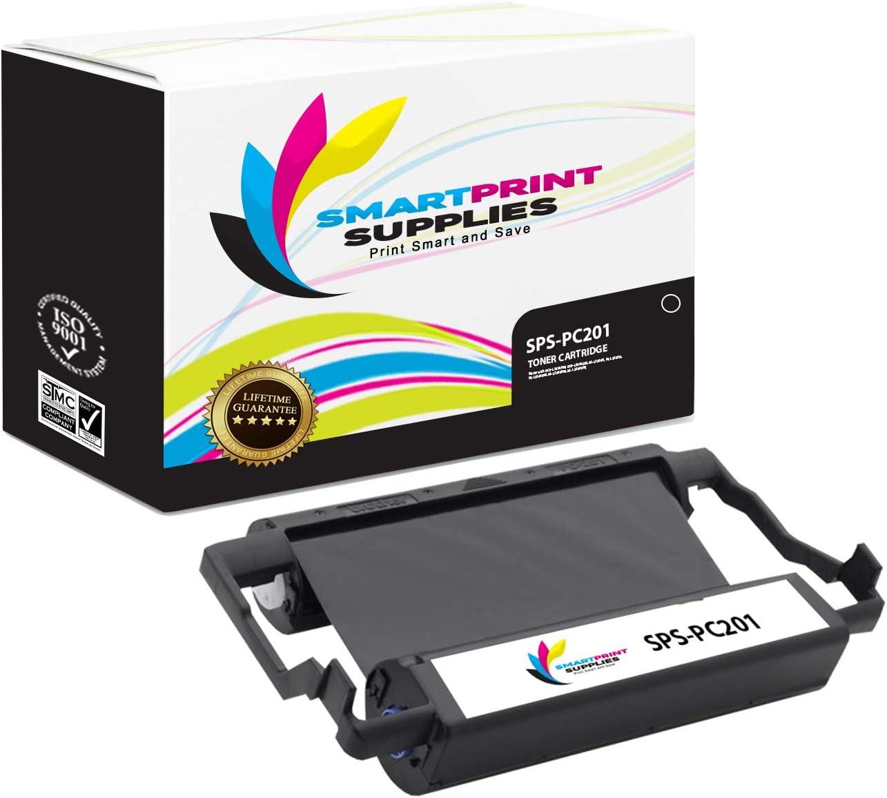 Smart Print Supplies Compatible Brother PC201 Black Ribbon Cartridge for Intellifax 1170 1270 1270E 1570MC 1575MC, MFC 1770 1780 1870MC 1970MC Printer 5M Characters