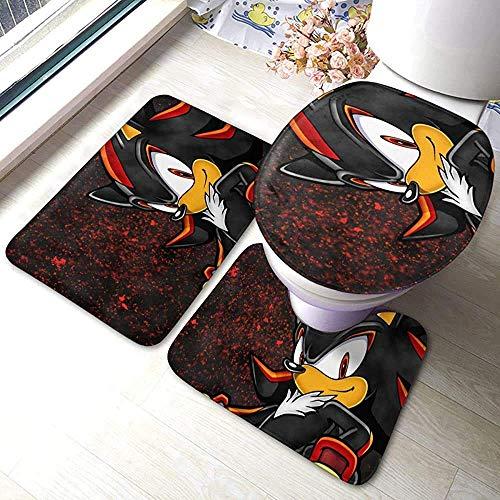 tyutrir The Hedgehog - Juego de alfombrillas de baño suaves + almohadillas de contorno + tapa de inodoro, juego de 3 piezas, alfombra de baño y alfombrillas
