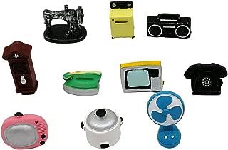 EMiEN 10PCS Old Fashioned Retro Mini Dollhouse Miniature Home Appliances Models Kit, Sewing Machine,Television,Radio,Telephone,Wall Clock,Rice Cooker,Iron,Washing Machine,Fan for Dollhouse Decoration