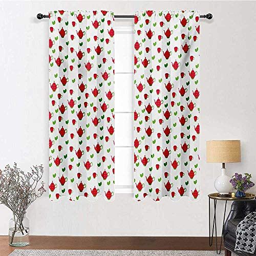 Adorise Blackout Curtains Teapots with Polka Dots and Leaves Tea Time Image Beverage British Design Rod Pocket Design Drapes for Boys' Room (1 Pair, W42 x L96 Each Panel)