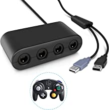 Gamecube Controller Adapter, Keten Super Smash Bros 4 Port Gamecube Controller Adapter for Wii U, Nintendo Switch and PC USB (Black)