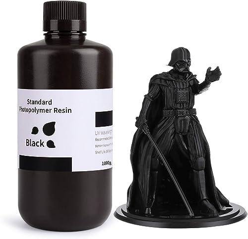 ELEGOO 3D Printer Resin LCD UV-Curing Resin 405nm Standard Photopolymer Resin for LCD 3D Printing Pure Black500g