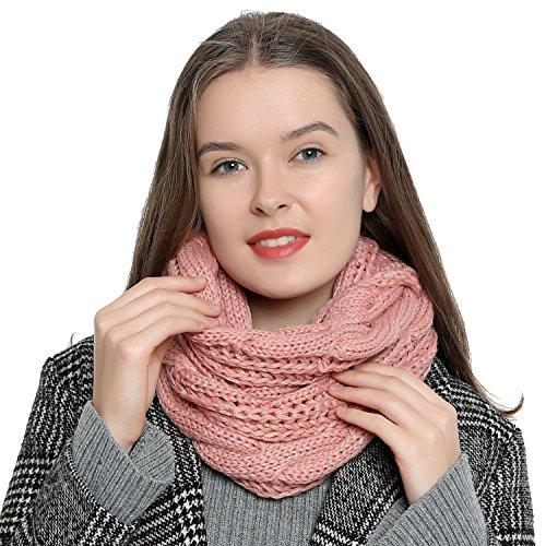 Bufanda de invierno tipo cuello suave y cálida para mujer con diseño de punto - Rosa
