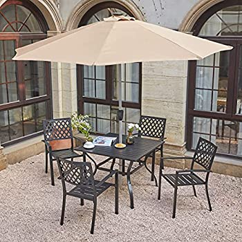 VICLLAX 6 Pcs Patio Dining Set with Umbrella Wheat  4 Stackable Dining Chairs & 1 Metal Dining Table with 10ft Outdoor Market Umbrella No Base