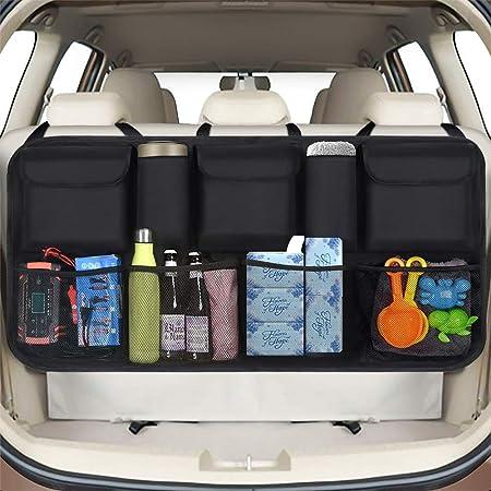 Zaroso Kofferraum Organizer Für Auto Kfz Mit Netztaschen 100x40cm Klett Befestigung Kofferraum Tasche Mit Gepäcknetzen In Schwarz Auto