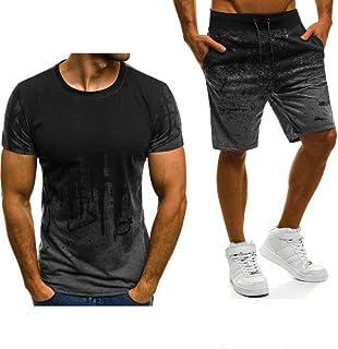 Mens Short Sleeve Summer Mens T-Shirt Solid Color Fashion Short Sleeve Quality Cotton Men's T-Shirt+Pants 2pcs Suit