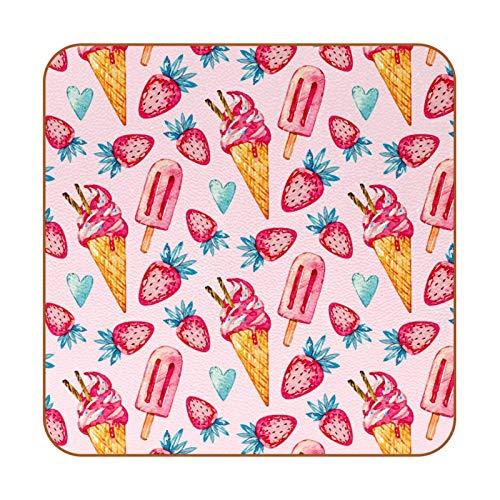Bennigiry Paleta de Helado de Fresa Posavasos de Cuero Taza de café Cuadrada Taza de Vidrio Manteles Individuales Tapetes para Tazas Manteles Individuales 6 PCS