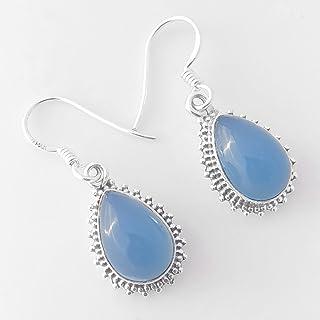 Aretes de plata para mujer,Blue Chalcedony Teardrop 925 Sterling Silver Earrings Handmade Jewelry