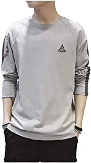 Howely Mens Contrast Color Block Sweatshirts Embroidery Loose T-Shirt Tops