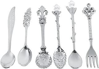 6Pcs/Set Flatware Vintage Spoon Dessert Coffee Mixing Spoon Teaspoon Ice Cream Spoon Fruit Fork Royal Style Metal Mini Carved Tableware Fruit Spoon for Kitchen Dining Bar Sweet Snacks(Silver)