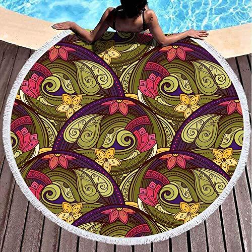 Runder Handtuch Strand, Mädchen Strandtuch Blumenmuster Gezeichnete Textur Blumen Garten Stil 59 '