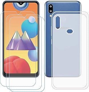 TTJ Genomskinligt skal för Samsung Galaxy M01S [3 stycken] HD pansarglas, mobiltelefonfodral silikon skyddande fodral TPU ...