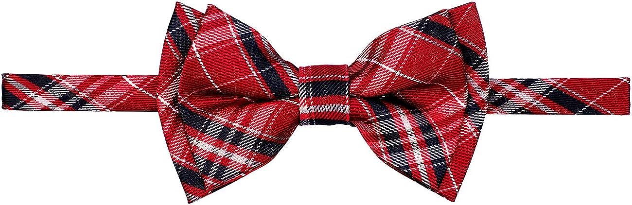 Retreez Stylish Plaid Checkered Woven Microfiber Pre-tied Boy's Bow Tie