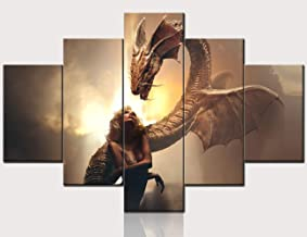Sexy Girl Artwork for Home Wall Fierce Dragon Pictures Fantasy Scenery Paintings Gallery-Wrapped 5 Panel Prints Canvas Wal...
