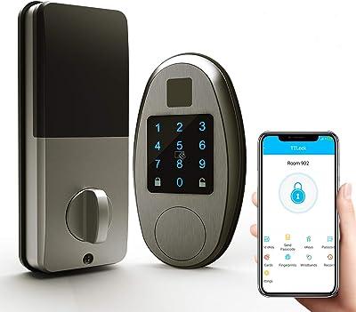 ChicAid Smart Door Lock, Keyless Entry Door Lock with Touchscreen Keypad, Digital Electronic Front Door Lock Deadbolt, Work with APP, Brushed Grey…