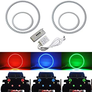 iJDMTOY 7-Color RGB LED Angel Eye Halo Rings for 2007-up Jeep Wrangler JK Headlight and Fog Lamps Retrofit with Wireless Remote Control