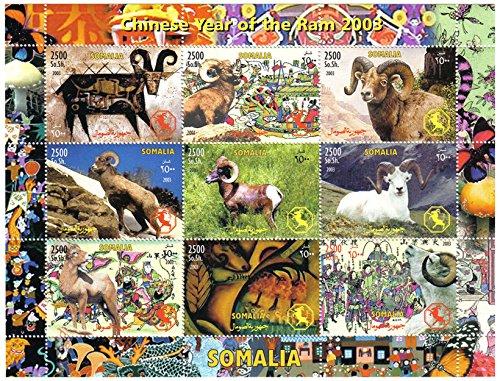 Chinees Jaar van de Ram muntstempel voor stempelverzamelaars en Chinese dierenriemliefhebbers met de ram op verschillende stempels – Somalië/2003-9 stempels