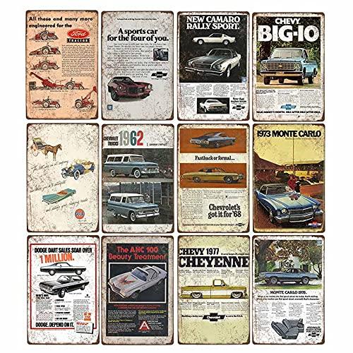 Cartel de coche de metal retro Hombre de hojalata Cave Bar Pub Garage Poster Vintage Wall Decorativo 12pcs