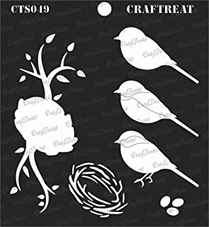 CrafTreat Layered Stencil - Bird and Nest - Reusable Painting Template for Journal, Notebook, Home Decor, Crafting, DIY Albums, Scrapbook and Printing on Paper, Floor, Wall, Tile, Fabric 6x6 inches