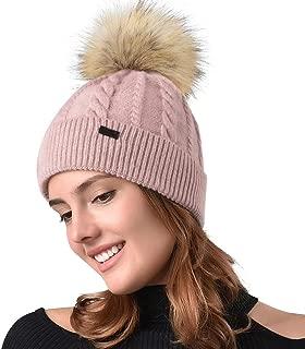 Women Winter Pom Knit Hat Cashmere Feel Beanie Caps with Faux Fur Pom Pom for Girls