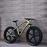 KKLTDI 26 Inch Fat Tire Bicycle,Men Women Students Variable Speed Bike,Men's High-Carbon Steel Frame Hardtail Mountain Bikes Gold 5 Spoke 26',21-Speed