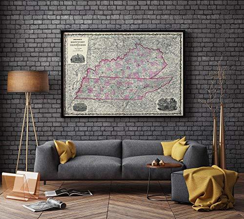 MG global 1862 Kaart van Kentucky en Tennessee| Tennessee Oude Kaart| Kentucky Oude Kaart| Antieke Kaart Voor Decoratie…