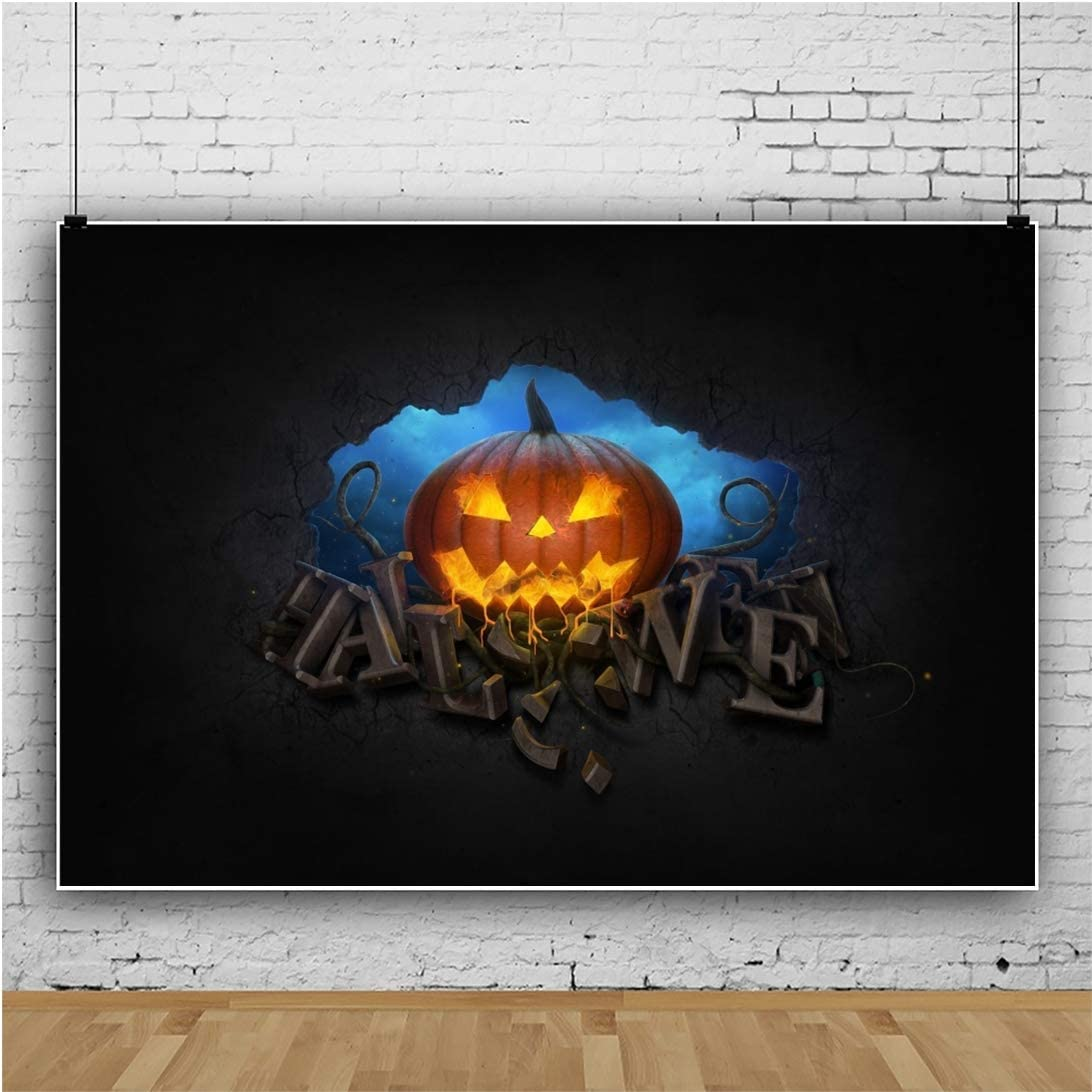Halloween Background 5x3ft Yellow Roaring Flame Vinyl Photography Backdrop Grimace Pumpkin Blaze Fire Flame Burning Wood Hallowmas Night Holiday Party Baby Kids Photo Prop Studio Poster