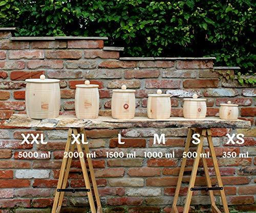 Vorratsdose aus Zirbenholz mit Holzdeckel, Größe S, 500ml Füllmenge für Müsli, Salz, Trockenfrüchte uvm. Handgefertigt in Österreich