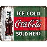 Nostalgic-Art Cartel de Chapa Retro Coca-Cola – Ice Cold – Idea de Regalo Aficionados a la Coke, metálico, Diseño Vintage Decorativo, 15 x 20 cm