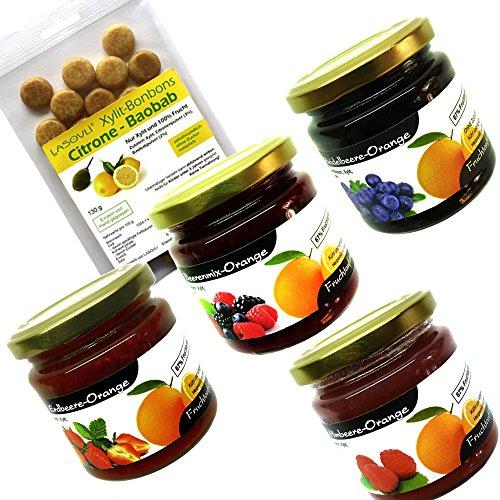"""Xylit Fruchtaufstriche im Bonus-Set Nr. 2\""""Orangenvariationen\"""" (4 Gläser), 1 Beutel Xylit-Bonbons Citrone-Baobab im Wert von 4,99 Euro gratis"""