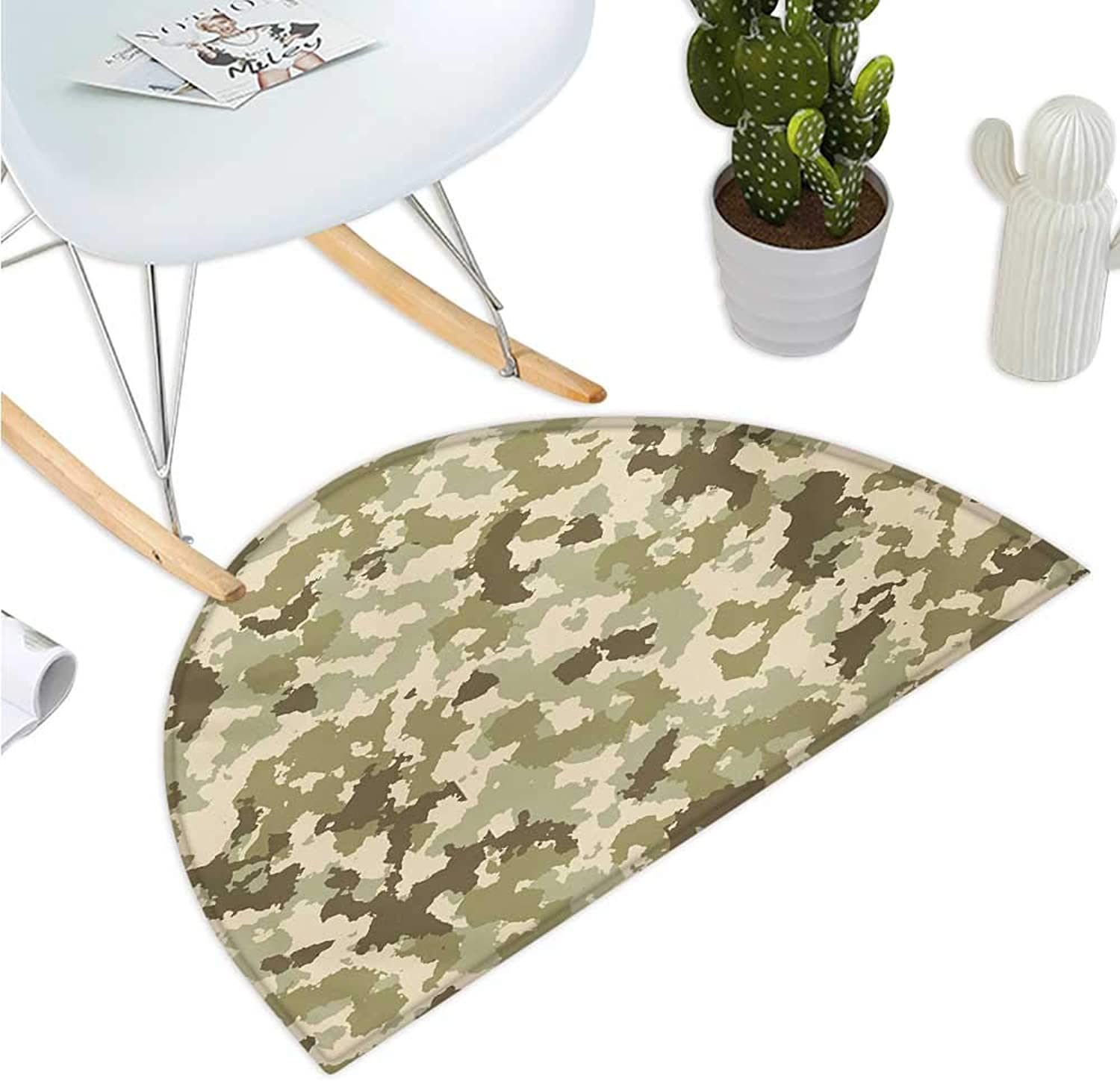 Camo Semicircular Cushion Old Fashioned Camouflage Pattern Classical Jungle Survival Theme Entry Door Mat H 35.4  xD 53.1  Army Green Pale Green Cream