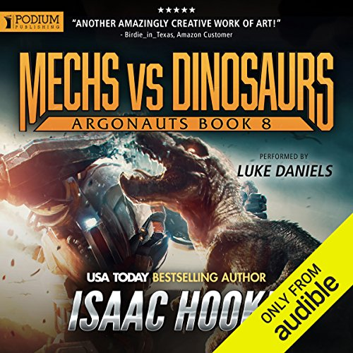 Mechs vs. Dinosaurs audiobook cover art